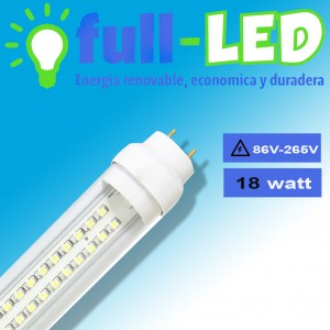 tubo full-led a la vista 18 watt/ 1.20/ envios a todo chile