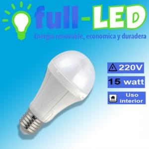 ampolleta full-led/ 15 watt/ 220 volt/e 27/ empavonada